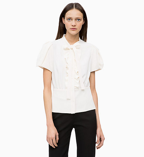 CALVINKLEIN Crepe Ruffle-Trim Blouse - CHALK - CALVIN KLEIN INVEST IN COLOUR - main image