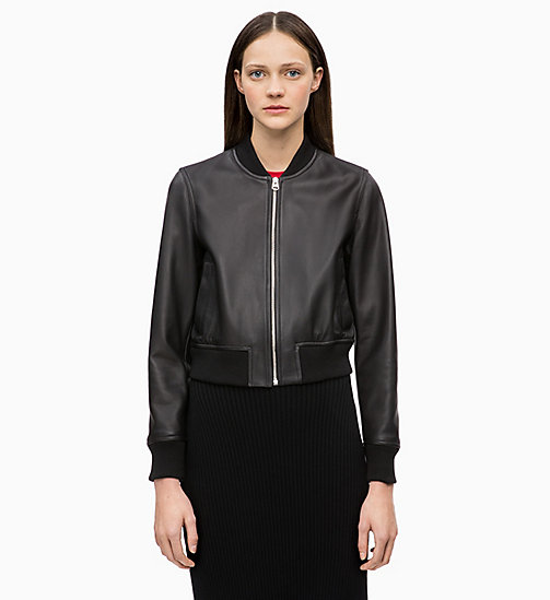 CALVINKLEIN Leather Bomber Jacket - BLACK - CALVIN KLEIN JACKETS - main image