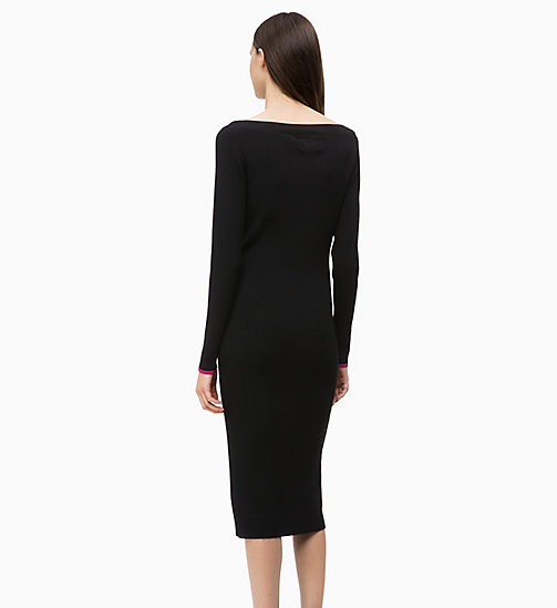CALVINKLEIN Long Sleeve Knit Dress - BLACK - CALVIN KLEIN DRESSES - detail image 1