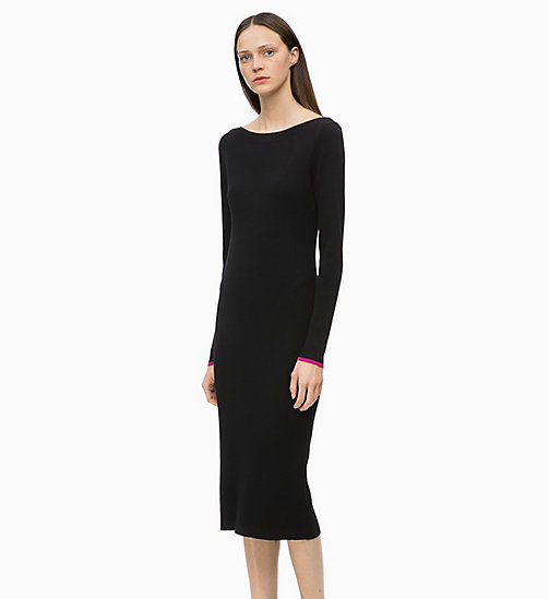 CALVINKLEIN Long Sleeve Knit Dress - BLACK - CALVIN KLEIN DRESSES - main image