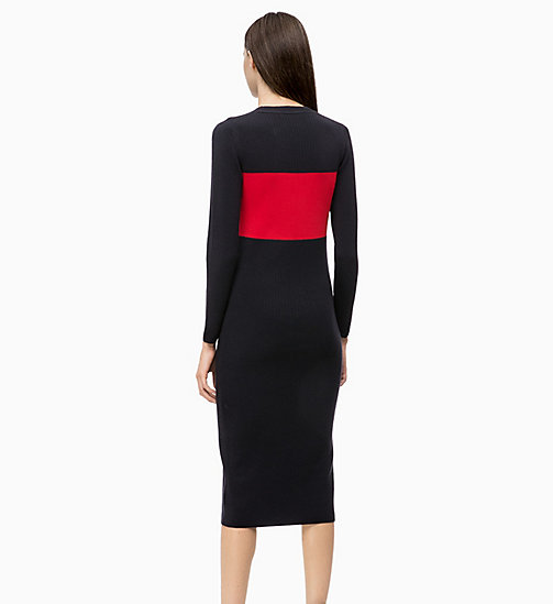 CALVINKLEIN Gestricktes Colour-Block-Kleid aus Wolle - DEEP NAVY / CRIMSON - CALVIN KLEIN FARB-INVESTMENT - main image 1