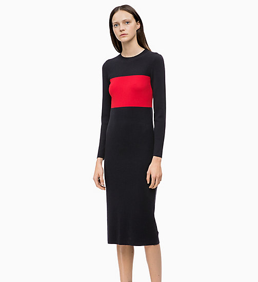 CALVINKLEIN Gestricktes Colour-Block-Kleid aus Wolle - DEEP NAVY / CRIMSON - CALVIN KLEIN FARB-INVESTMENT - main image