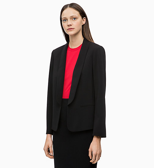CALVINKLEIN Crepe Shawl Collar Blazer - BLACK - CALVIN KLEIN NEW IN - main image