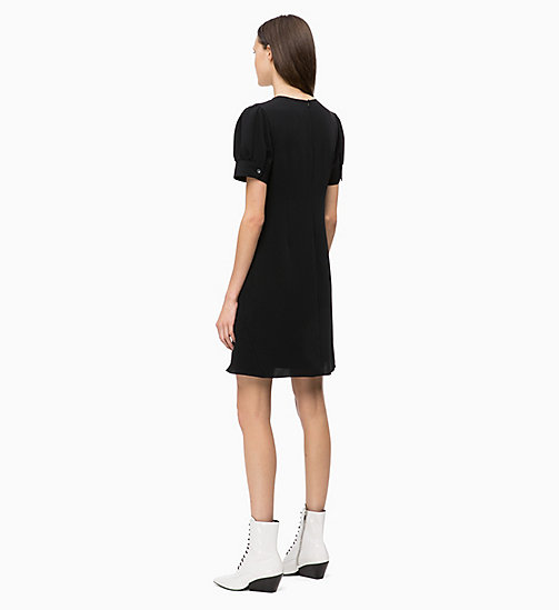 CALVINKLEIN Flared Short Sleeve Dress - BLACK - CALVIN KLEIN DRESSES - detail image 1