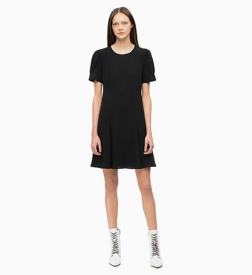 CALVINKLEIN Flared Short Sleeve Dress - BLACK - CALVIN KLEIN DRESSES - main image