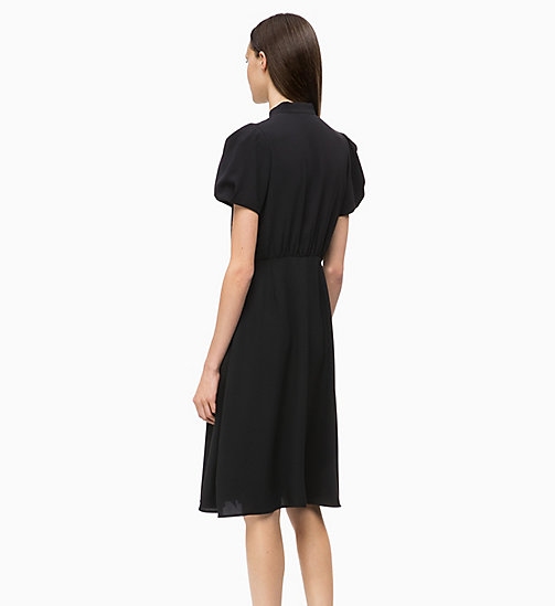 CALVINKLEIN Crepe Ruffle-Trim Dress - BLACK - CALVIN KLEIN CLOTHES - detail image 1