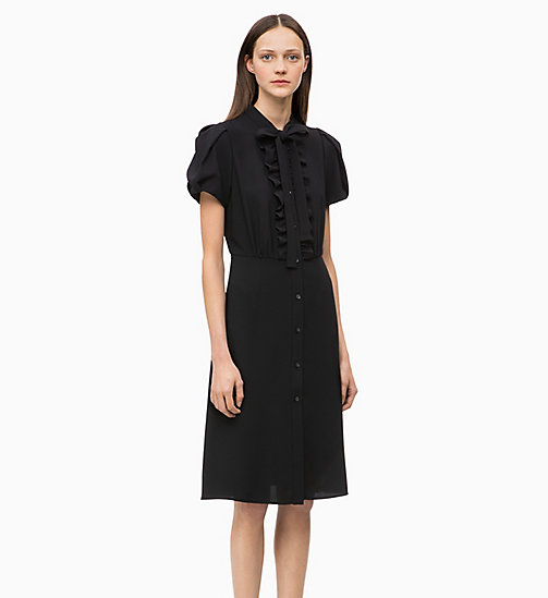 CALVIN KLEIN Crepe Ruffle-Trim Dress - BLACK - CALVIN KLEIN DRESSES - main image