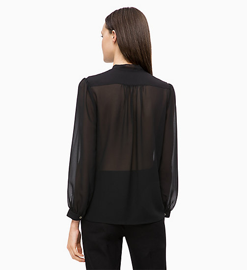 CALVINKLEIN Crepe Pintuck Blouse - BLACK - CALVIN KLEIN NEW IN - detail image 1