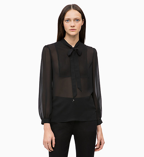 CALVINKLEIN Crepe Pintuck Blouse - BLACK - CALVIN KLEIN NEW IN - main image