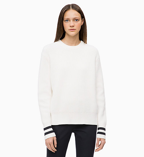 CALVIN KLEIN Cotton Wool Jumper - CHALK - CALVIN KLEIN CALVIN KLEIN WOMENSWEAR - main image