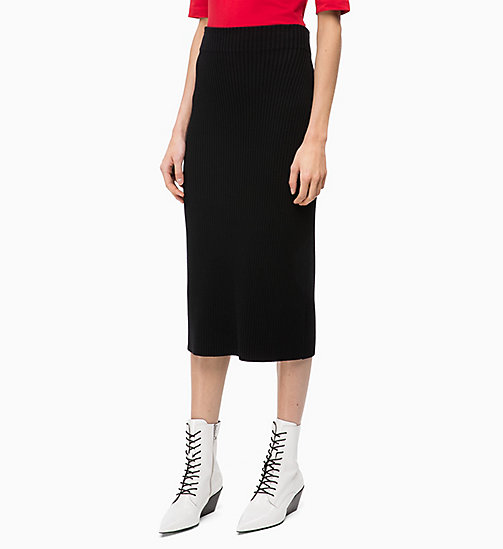 CALVIN KLEIN Rib-Knit Pencil Skirt - BLACK - CALVIN KLEIN CLOTHES - main image