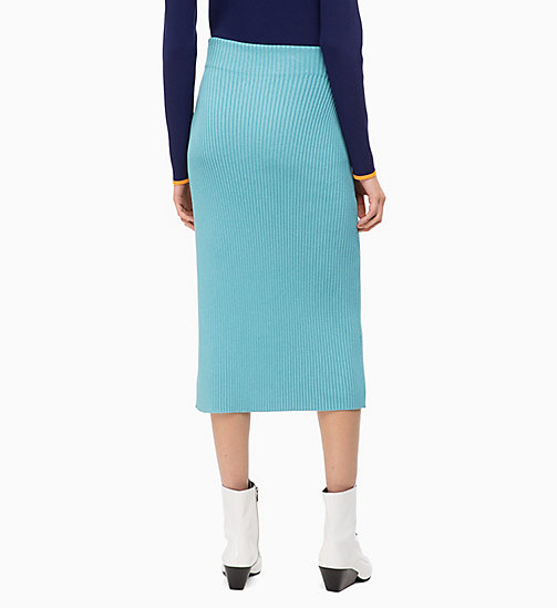 CALVINKLEIN Rib-Knit Pencil Skirt - AZURE - CALVIN KLEIN CLOTHES - detail image 1