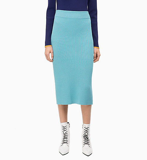 CALVIN KLEIN Rib-Knit Pencil Skirt - AZURE - CALVIN KLEIN CLOTHES - main image