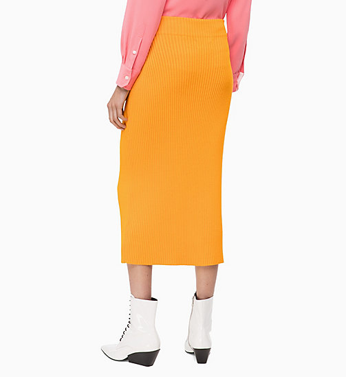 CALVINKLEIN Rib-Knit Pencil Skirt - TANGERINE - CALVIN KLEIN INVEST IN COLOUR - detail image 1