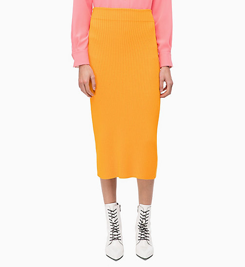 CALVINKLEIN Rib-Knit Pencil Skirt - TANGERINE - CALVIN KLEIN INVEST IN COLOUR - main image