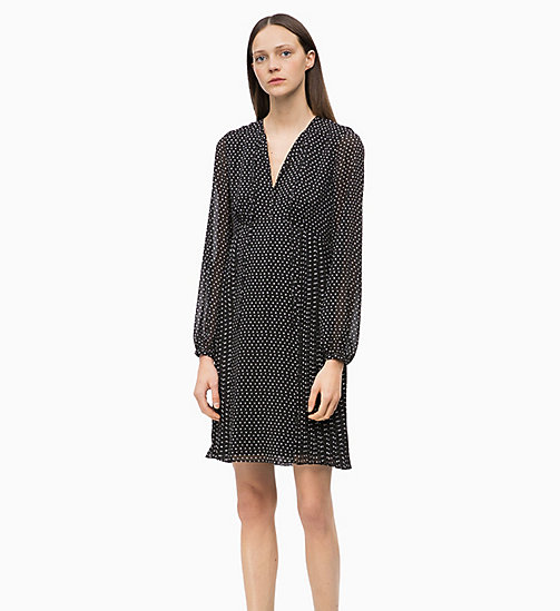 CALVIN KLEIN Crepe Printed Dress - SMALL STAR BLACK - CALVIN KLEIN WOMEN - main image