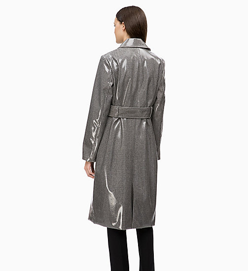 CALVINKLEIN Laminated Wool Trench Coat - LAMINATED CHECK - CALVIN KLEIN INVEST IN COLOUR - detail image 1