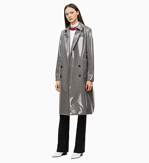 CALVIN KLEIN Laminated Wool Trench Coat - LAMINATED CHECK - CALVIN KLEIN CALVIN KLEIN WOMENSWEAR - detail image 1