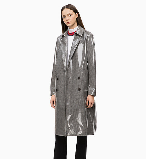 CALVIN KLEIN Laminated Wool Trench Coat - LAMINATED CHECK - CALVIN KLEIN CALVIN KLEIN WOMENSWEAR - main image