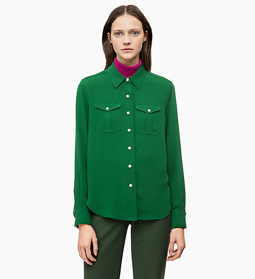 CALVIN KLEIN Twill Police Pocket Shirt - GREEN - CALVIN KLEIN WOMEN - main image