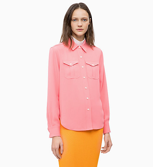 CALVINKLEIN Twill Police Pocket Shirt - DAHLIA - CALVIN KLEIN INVEST IN COLOUR - main image