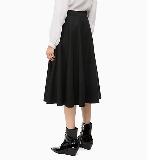 CALVINKLEIN Wool Blend Flared Skirt - BLACK -  SKIRTS - detail image 1