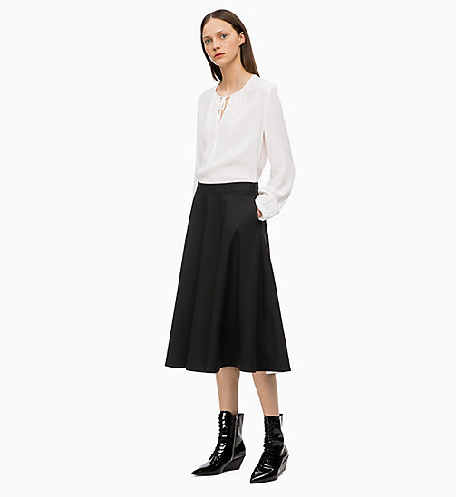 CALVIN KLEIN Wool Blend Flared Skirt - BLACK - CALVIN KLEIN CLOTHES - detail image 1