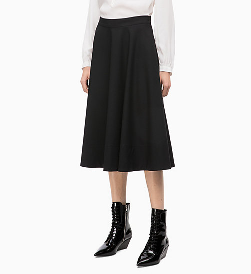CALVINKLEIN Wool Blend Flared Skirt - BLACK -  SKIRTS - main image