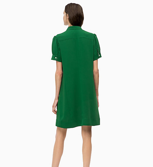CALVIN KLEIN Short Sleeve Shirt Dress - GREEN - CALVIN KLEIN CLOTHES - detail image 1