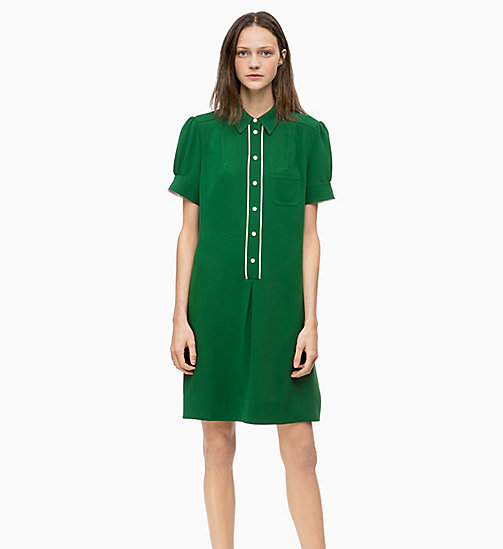 CALVIN KLEIN Short Sleeve Shirt Dress - GREEN - CALVIN KLEIN WOMEN - main image