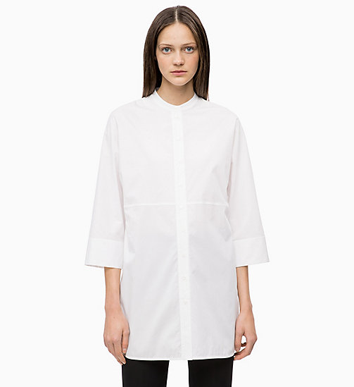 CALVINKLEIN Cotton Poplin Tunic Top - WHITE - CALVIN KLEIN INVEST IN COLOUR - main image
