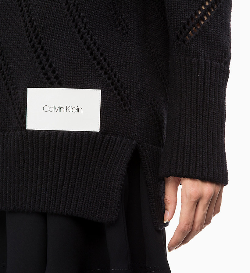 CALVIN KLEIN Cotton Wool Pointelle Jumper - MARIGOLD - CALVIN KLEIN WOMEN - detail image 2