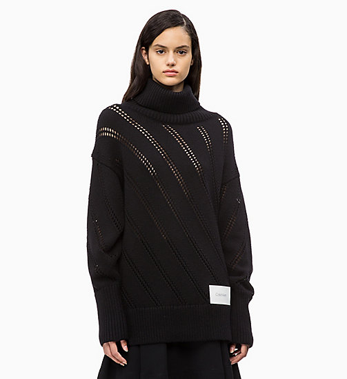 CALVIN KLEIN Cotton Wool Pointelle Jumper - PERFECT BLACK - CALVIN KLEIN CALVIN KLEIN WOMENSWEAR - main image
