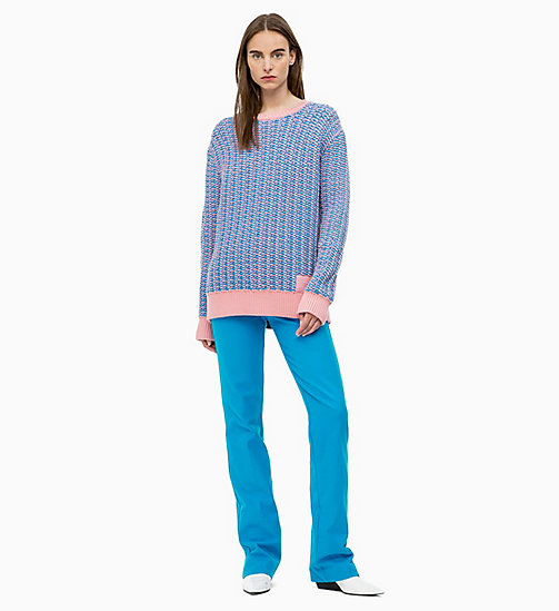 CALVIN KLEIN Two-Tone Cotton Blend Jumper - DEEP AZURE / BLUSH - CALVIN KLEIN CALVIN KLEIN WOMENSWEAR - detail image 1