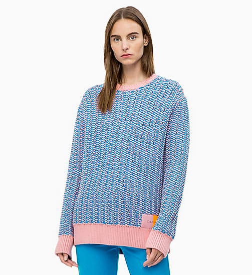 CALVIN KLEIN Two-Tone Cotton Blend Jumper - DEEP AZURE / BLUSH - CALVIN KLEIN CALVIN KLEIN WOMENSWEAR - main image