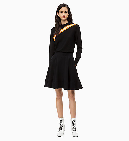 CALVIN KLEIN Wool Diagonal Stripe Jumper - PERFECT BLACK - CALVIN KLEIN CALVIN KLEIN WOMENSWEAR - detail image 1