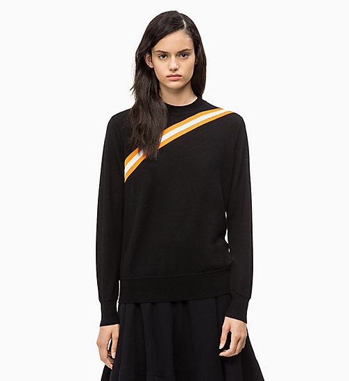 CALVIN KLEIN Wool Diagonal Stripe Jumper - PERFECT BLACK - CALVIN KLEIN CALVIN KLEIN WOMENSWEAR - main image
