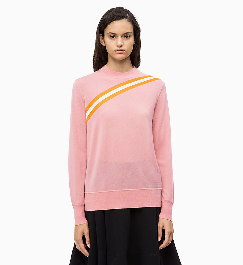 CALVIN KLEIN Wool Diagonal Stripe Jumper - PERFECT BLACK - CALVIN KLEIN WOMEN - main image