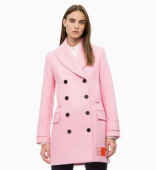 CALVIN KLEIN Structured Wool Pea Coat - BLUSH - CALVIN KLEIN CALVIN KLEIN WOMENSWEAR - main image