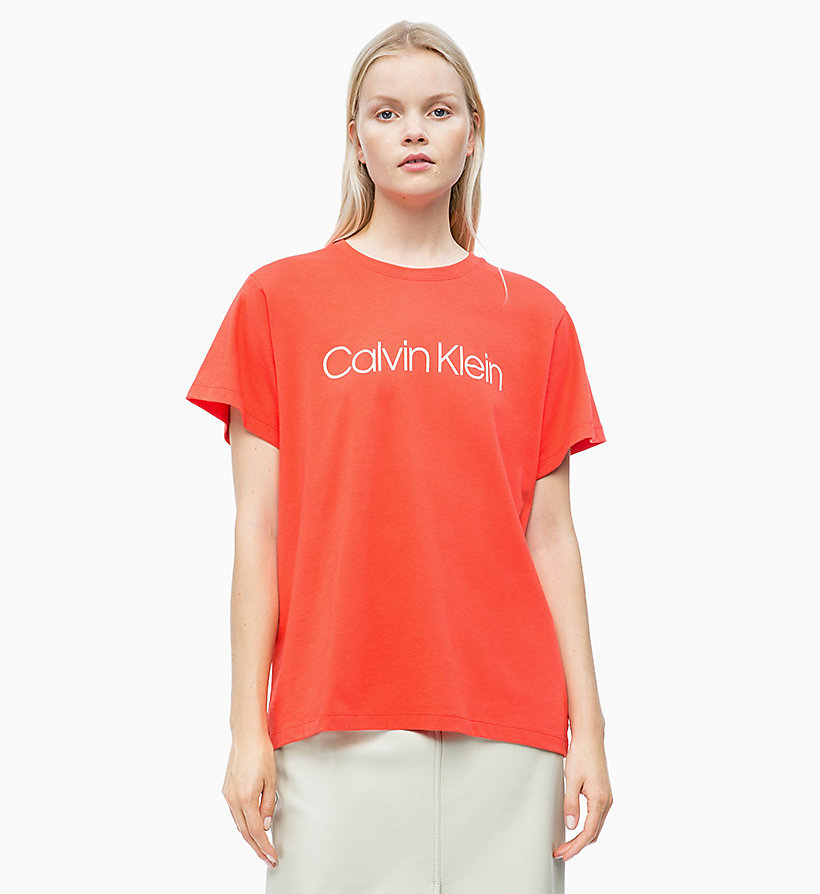 CALVIN KLEIN Combed Cotton Logo T-shirt - BRIGHT WHITE - CALVIN KLEIN WOMEN - main image
