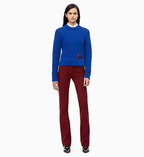 CALVIN KLEIN Cotton Blend Honeycomb Jumper - INDUSTRIAL BLUE - CALVIN KLEIN CALVIN KLEIN WOMENSWEAR - detail image 1