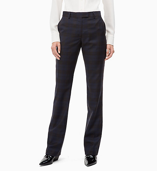 CALVIN KLEIN Wool Check Trousers - MIDNIGHT COWBOY CHECK - CALVIN KLEIN CALVIN KLEIN WOMENSWEAR - main image