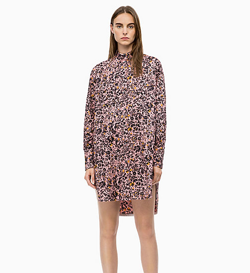CALVIN KLEIN Cotton Printed Shirt Dress - BLUSH FLORAL LARGE - CALVIN KLEIN CALVIN KLEIN WOMENSWEAR - main image