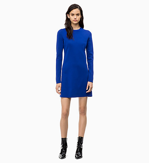 CALVIN KLEIN Long Sleeve Sweater Dress - INDUSTRIAL BLUE - CALVIN KLEIN CALVIN KLEIN WOMENSWEAR - main image