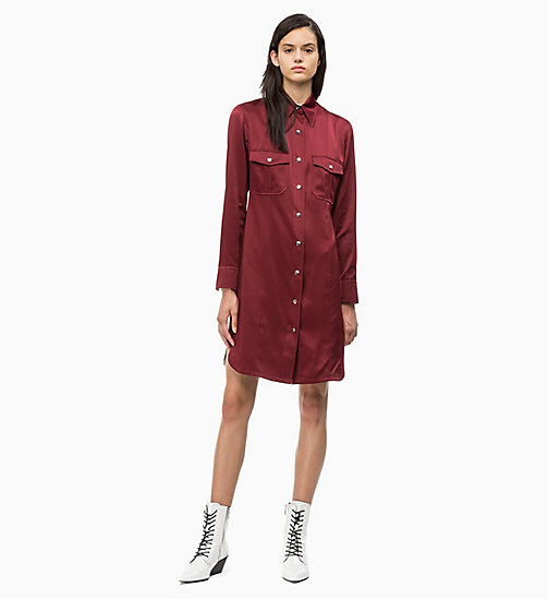 CALVIN KLEIN Satin Shirt Dress - IRON RED - CALVIN KLEIN CALVIN KLEIN WOMENSWEAR - detail image 1