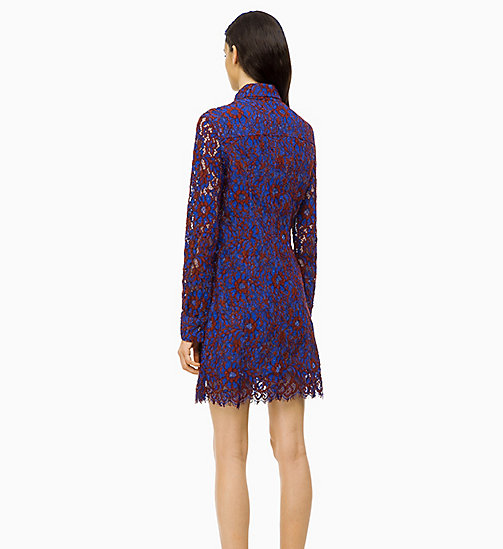 CALVIN KLEIN Lace Dress - IRON RED / INDUSTRIAL BLUE LACE - CALVIN KLEIN CALVIN KLEIN WOMENSWEAR - detail image 1