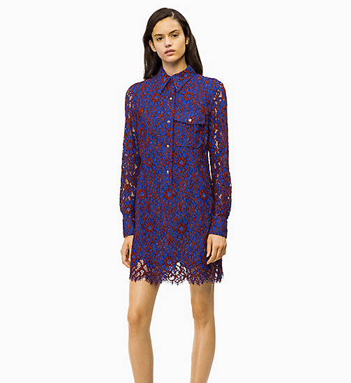 CALVIN KLEIN Lace Dress - IRON RED / INDUSTRIAL BLUE LACE - CALVIN KLEIN CALVIN KLEIN WOMENSWEAR - main image