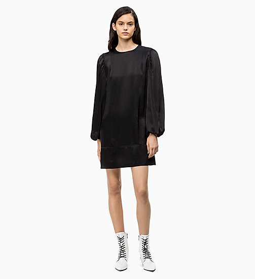 CALVIN KLEIN Satin Puff-Sleeve Dress - PERFECT BLACK - CALVIN KLEIN CALVIN KLEIN WOMENSWEAR - main image