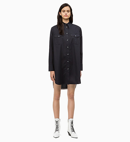 CALVIN KLEIN Cotton Shirt Dress - PERFECT BLACK - CALVIN KLEIN CALVIN KLEIN WOMENSWEAR - main image