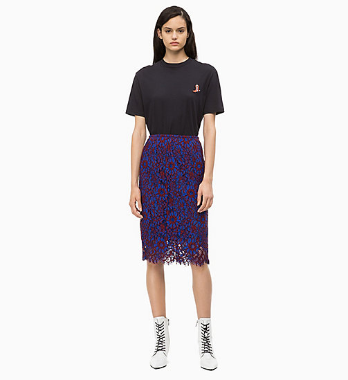 CALVIN KLEIN Lace Pencil Skirt - IRON RED / INDUSTRIAL BLUE LACE - CALVIN KLEIN CALVIN KLEIN WOMENSWEAR - detail image 1
